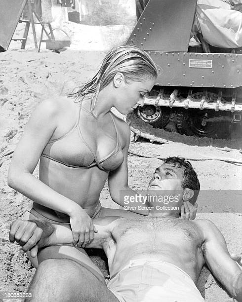 American actors Tony Curtis as Carlo Cofield and Sharon Tate as Malibu in 'Don't Make Waves' directed by Alexander Mackendrick 1967
