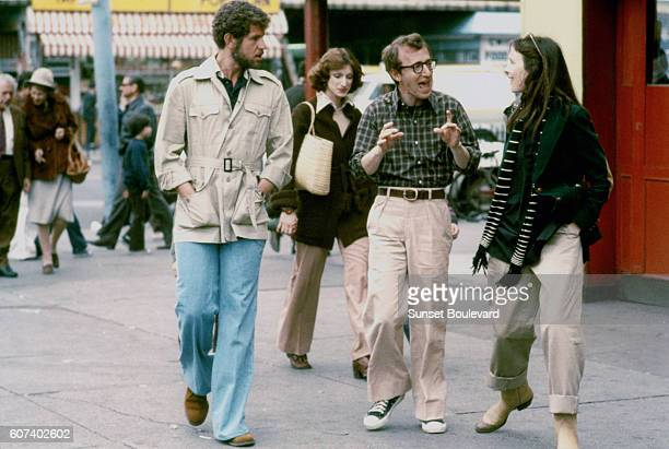 American actors Tony Roberts and Diane Keaton with actor screenwriter and director Woody Allen on the set of his movie Annie Hall