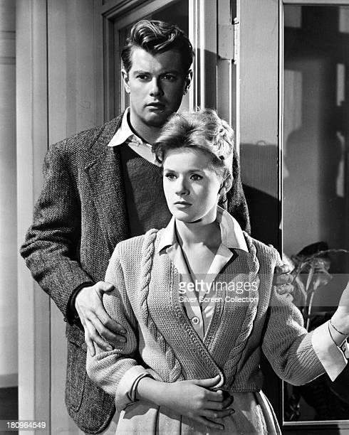 American actors Troy Donahue as Jim Munroe and Connie Stevens as Gayle Lewis/Jane Hoover in 'Palm Springs Weekend' directed by Norman Taurog 1963