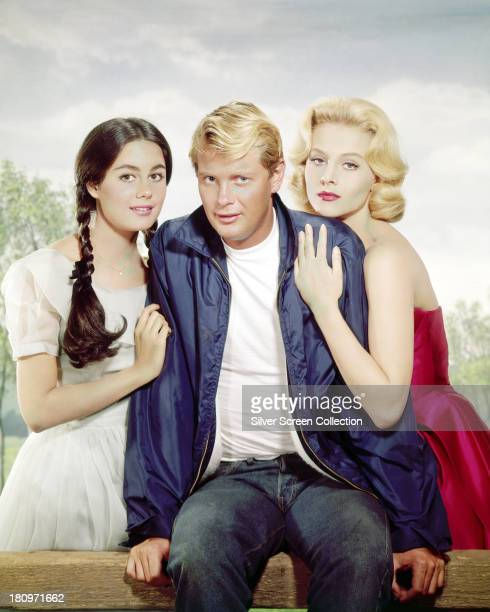 American actors Troy Donahue as Parrish McLean Sharon Hugueny as Paige Raike and Diane McBain as Alison Post in a promotional portrait for 'Parrish'...