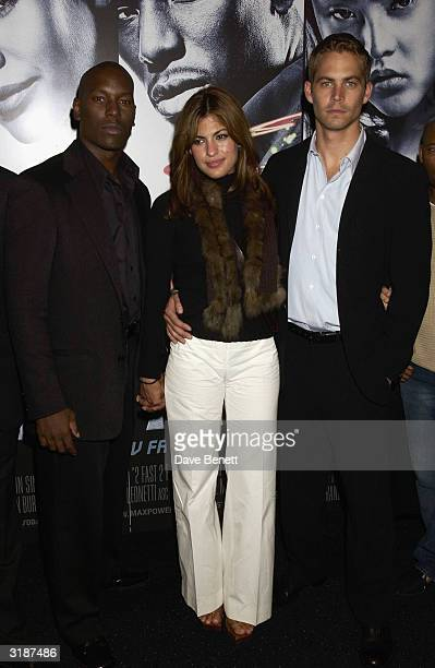 American actors Tyrese Paul Walker and Eva Mendes arrive at the UK premiere of the film 2 Fast 2 Furious at the Warner Brothers Cinema West End on...