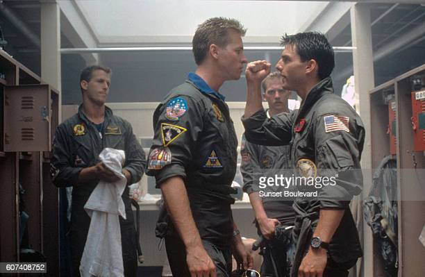 American actors Val Kilmer and Tom Cruise on the set of Top Gun directed by Tony Scott