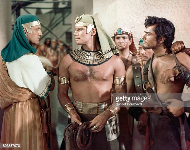 American actors Vincent Price, Charlton Heston and John Derk on the set of The Ten Commandments, directed by Cecil B. DeMille.