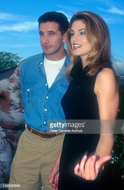 American actors William Baldwin and Cindy Crawford pose with a Koala during a press conference to promote their new film 'Fair Game' in November 1995...