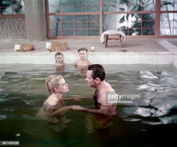 American actors William Holden and Grace Kelly on the set of The Bridges at TokoRi directed by Canadian Mark Robson