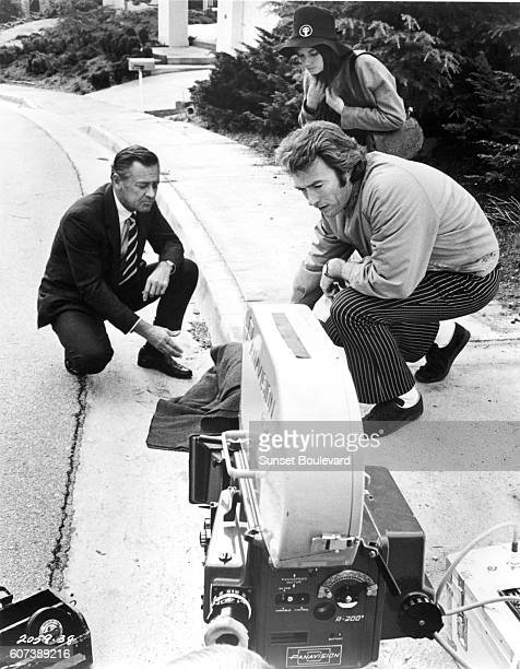 American actors William Holden and Kay Lenz with actor director and producer Clint Eastwood on the set of his movie Breezy