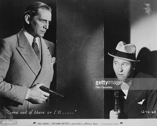 American actors William 'Stage' Boyd as Mike Slade and Jack Oakie as 'Cyclone' Case in a publicity still for A Edward Sutherland's 1931 comedy 'The...