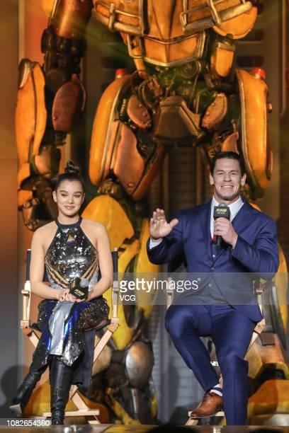 American actor/wrestler John Cena and American actress/singer Hailee Steinfeld attend the press conference of film 'Bumblebee' on December 14 2018 in...