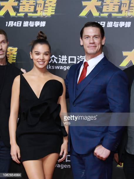 American actor/wrestler John Cena and American actress/singer Hailee Steinfeld attend the press conference of film 'Bumblebee' on December 14, 2018...