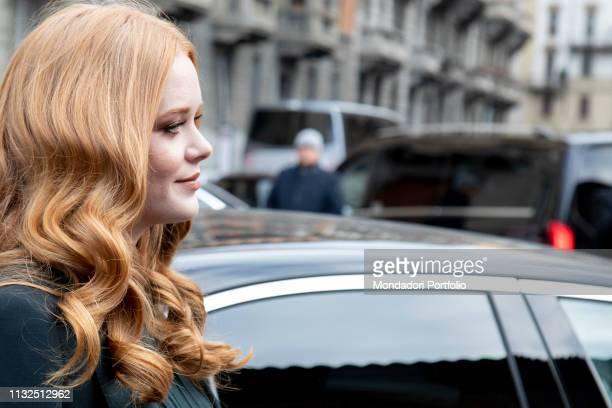 American actress Abigail Cowen arrives at the Ferragamo show of Milan Fashion Week Woman F/W 19 Milan February 23th 2019