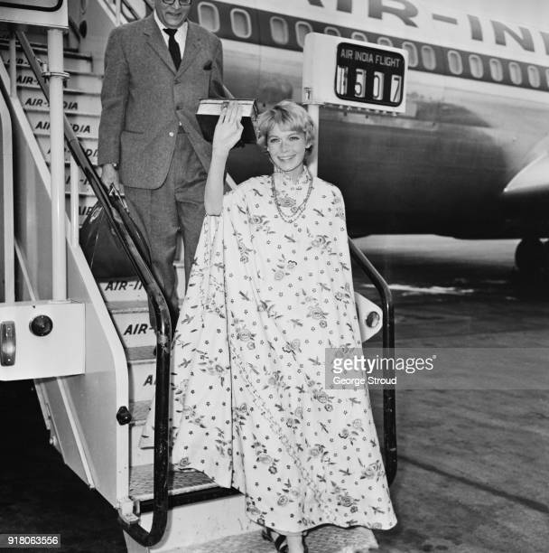American actress activist and former fashion model Mia Farrow arrives at Heathrow Airport UK 7th March 1968