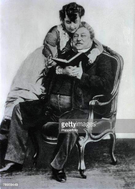 American actress Adah Isaacs Menken 1835-1868 with her friend, French writer Mr, Alexander Dumas 1824-1895