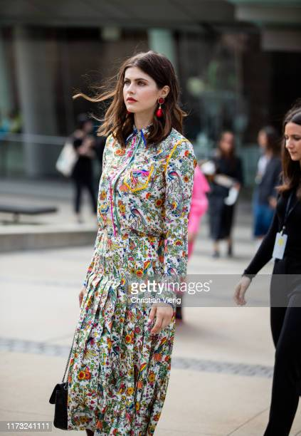 American actress Alexandra Daddario is seen outside Tory Burch during New York Fashion Week September 2019 on September 08 2019 in New York City