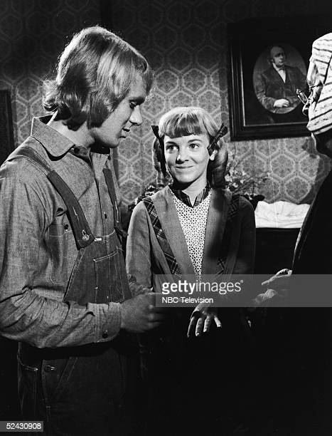 American actress Alison Arngrim and actor Bob Marsic are married by an unidentified actor in the elopement scene from the episode of the television...