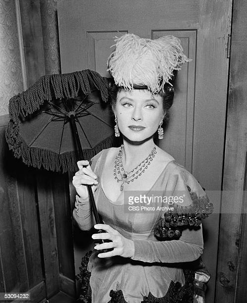 American actress Amanda Blake in costume on the set of the TV western 'Gunsmoke' for the episode titled 'The Killer' April 3 1956 The episode...