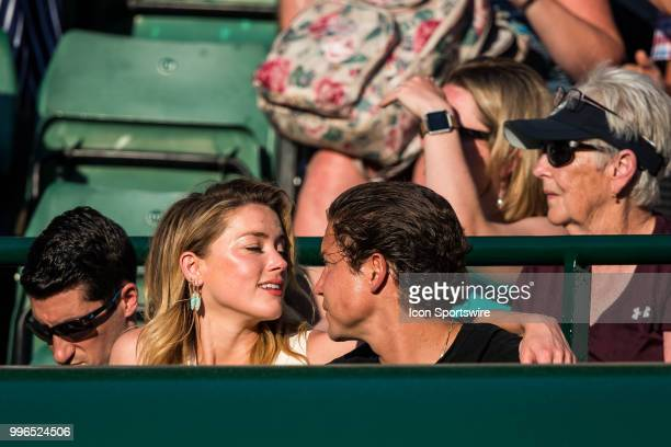 american actress AMBER HEARD and american art curator VITO SCHNABEL during day nine match of the 2018 Wimbledon on July 11 at All England Lawn Tennis...