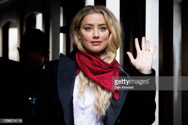 American Actress Amber Heard arrives at Royal Courts of Justice Strand on July 14 2020 in London England American actor Johnny Depp is taking News...