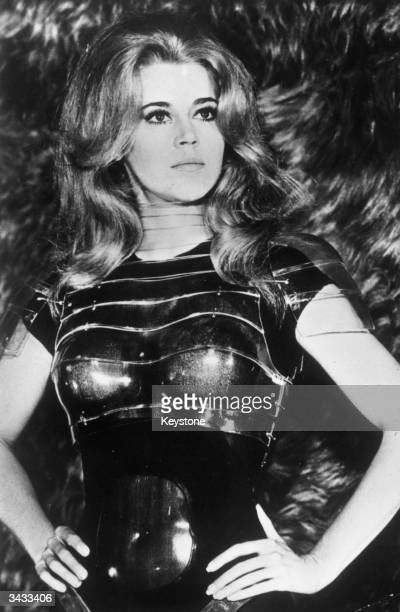 American actress and activist Jane Fonda in the title role of the film 'Barbarella' directed by Roger Vadim Costumes by Paco Rabanne