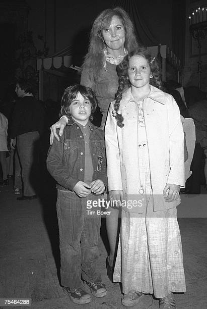 American actress and comedienne Ann Meara poses at an unidentified event with her children Ben and Amy Stiller early 1970s