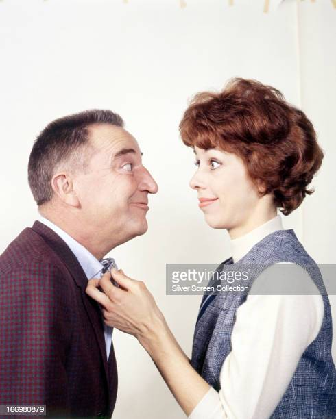 American actress and comedienne Carol Burnett with her guest on 'The Carol Burnett Show' American actor and comedian George Gobel circa 1967