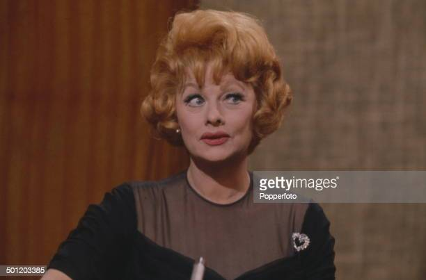 American actress and comedienne Lucille Ball pictured being interviewed on the Eamonn Andrews television show in 1966