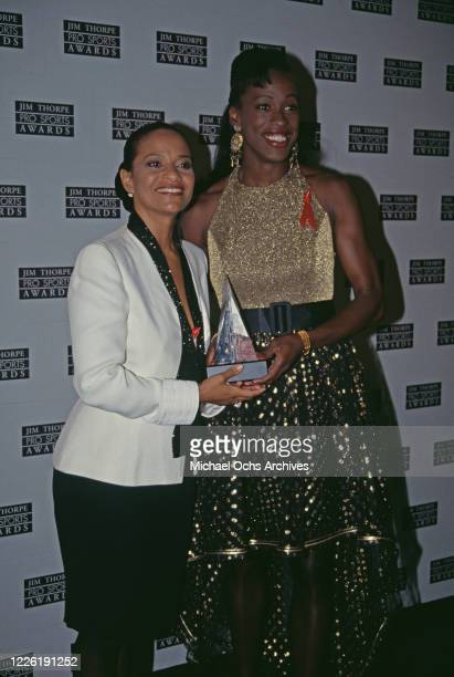 American actress and dancer Debbie Allen and American heptathlete Jackie Joyner-Kersee attend the 2nd Annual Jim Thorpe Sports Awards, held at the...