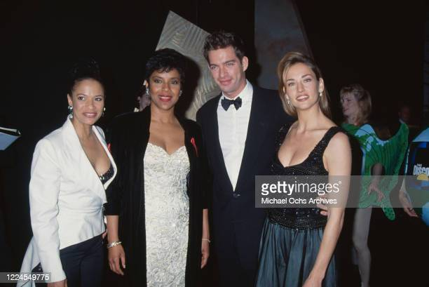 American actress and dancer Debbie Allen and her sister American actress Phylicia Rashad with American singer and actor Harry Connick Jr and his wife...