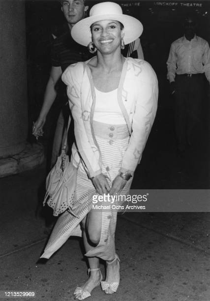 American actress and dancer Debbie Allen leaves the Minskoff Theatre in New York City after one of her performances in the musical 'Sweet Charity',...