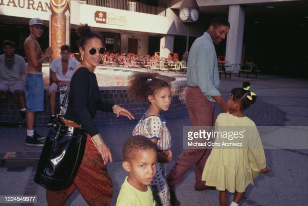 American actress and dancer Debbie Allen with her husband American basketball player Norm Nixon and two of their children Norman Nixon Jr and Vivian...