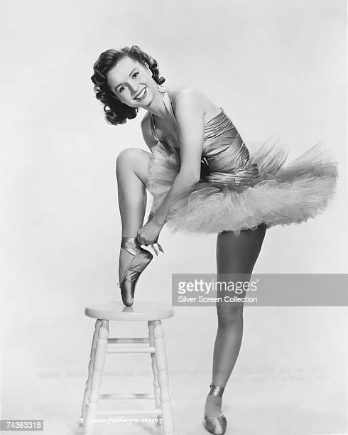 American actress and dancer Debbie Reynolds in ballet costume circa 1955