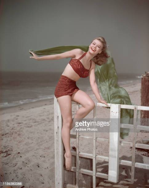 American actress and dancer VeraEllen on the beach circa 1950