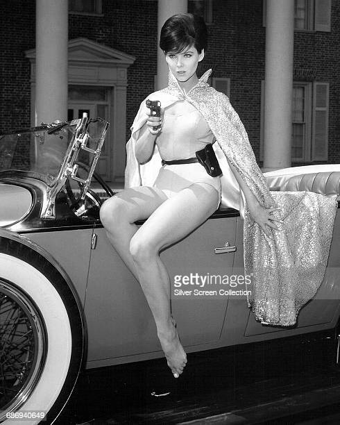American actress and dancer Yvonne Craig wearing a sequined cape circa 1966 She was famous for her role as Batgirl in the 1960s television series...