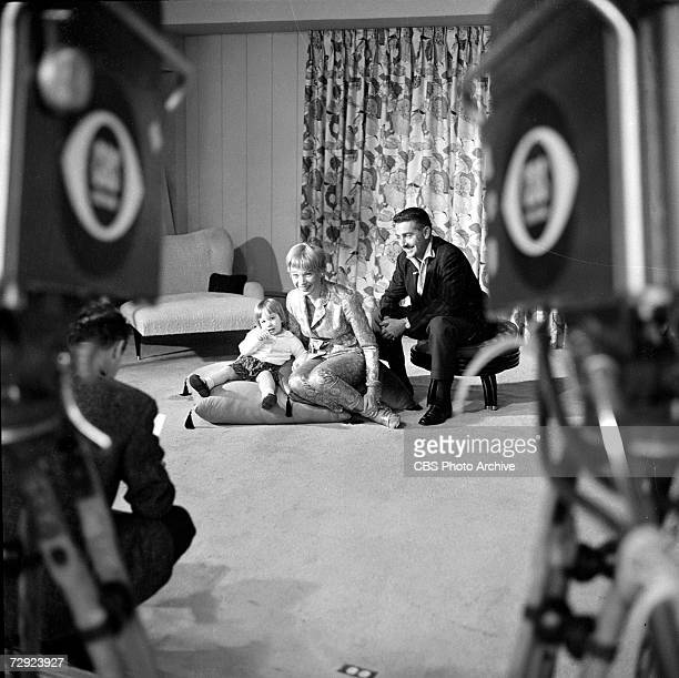 American actress and entertainer Shirley MacLaine poses with her husband Steve Parker and their daughter Sachi Parker in their home on an episode of...