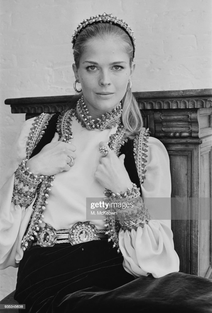 American actress and fashion model Candice Bergen wearing Slavonic outfit by Belinda Bellville, UK, 14th October 1968.