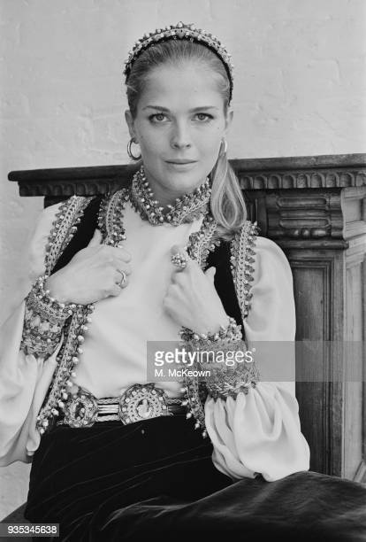 American actress and fashion model Candice Bergen wearing Slavonic outfit by Belinda Bellville UK 14th October 1968