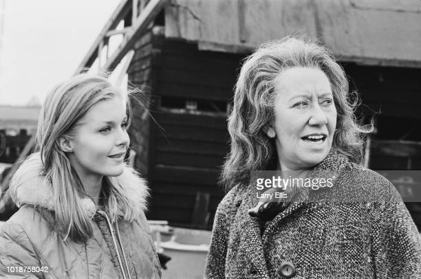 American actress and former child model Carol Lynley with English actress Flora Robson on the set of British horror film 'The Shuttered Room' UK 30th...