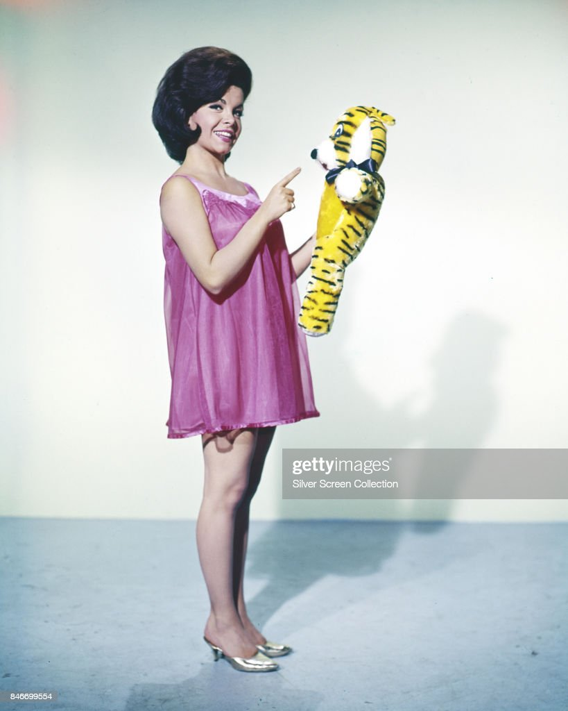 American actress and former 'Mouseketeer' Annette Funicello (1942 - 2013) holds a soft tiger toy, circa 1960.