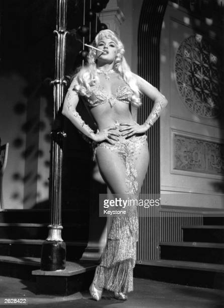 American actress and Hollywood sex symbol Jayne Mansfield on set during the filming of 'Too Hot To Handle'