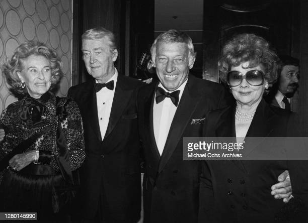 American actress and model Gloria Hatrick McLean with her husband American actor James Stewart and American comedian Gary Morton with his wife...