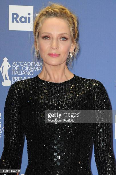 American actress and model Uma Thurman during the red carpet of the 64th edition of the David di Donatello. Rome , March 27th, 2019