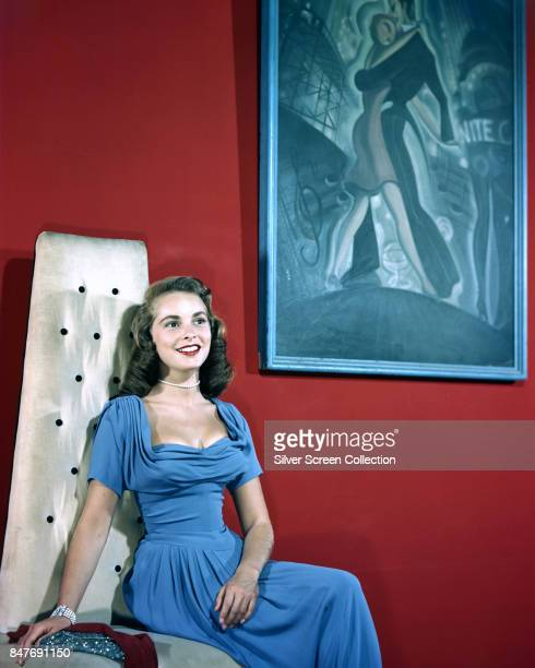 American actress and performer Janet Leigh , wearing a light blue dress, circa 1945.