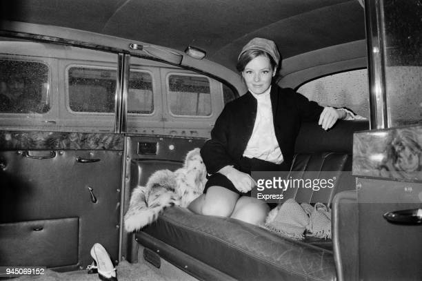 American actress and playwright Katharine Houghton sits in the backseat of a car UK 22nd February 1968
