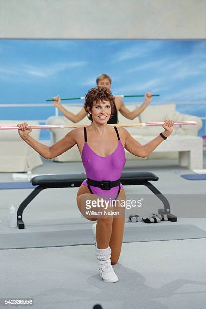 American actress and sex symbol of the 1960s Raquel Welch during the filming of her workout video Body and Mind Total Relaxation and Stress Relief...