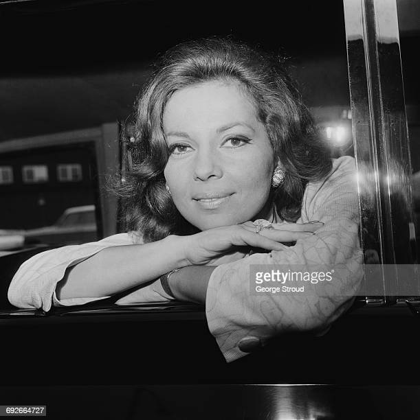 American actress and singer Abbe Lane arrives at London Airport UK 7th August 1966
