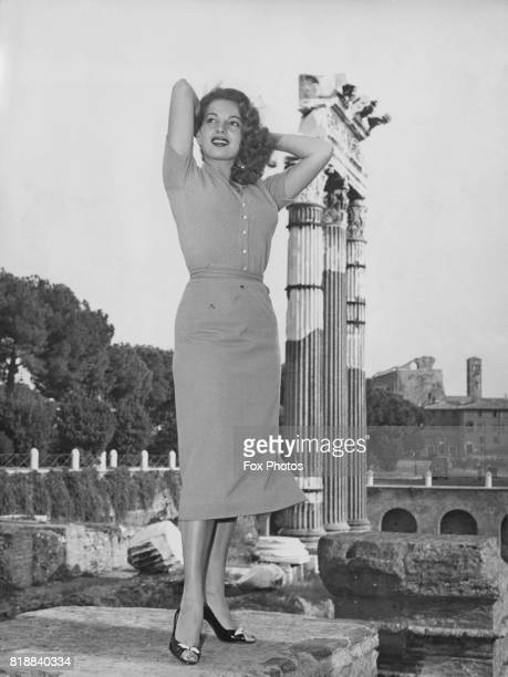 American actress and singer Abbe Lane in the ancient forum in Rome Italy where she is on holiday with her husband Xavier Cugat circa 1955