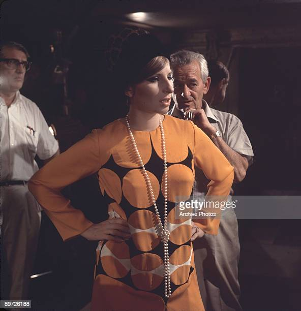 American actress and singer Barbra Streisand on the set of the movie 'Funny Girl' with director William Wyler 1968