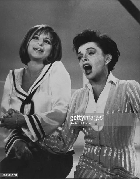 American actress and singer Barbra Streisand sings a duet with Judy Garland during episode 9 of 'The Judy Garland Show' taped on 4th October 1963 and...