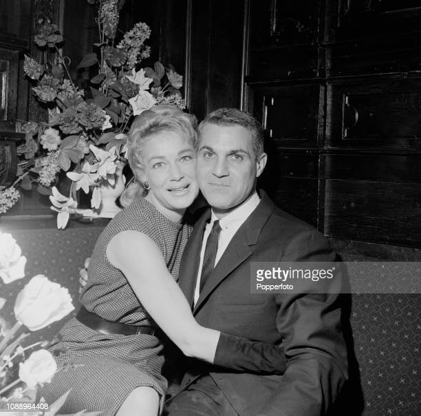 American actress and singer Betty Hutton pictured with her husband jazz trumpeter Pete Candoli at a club in London in March 1961