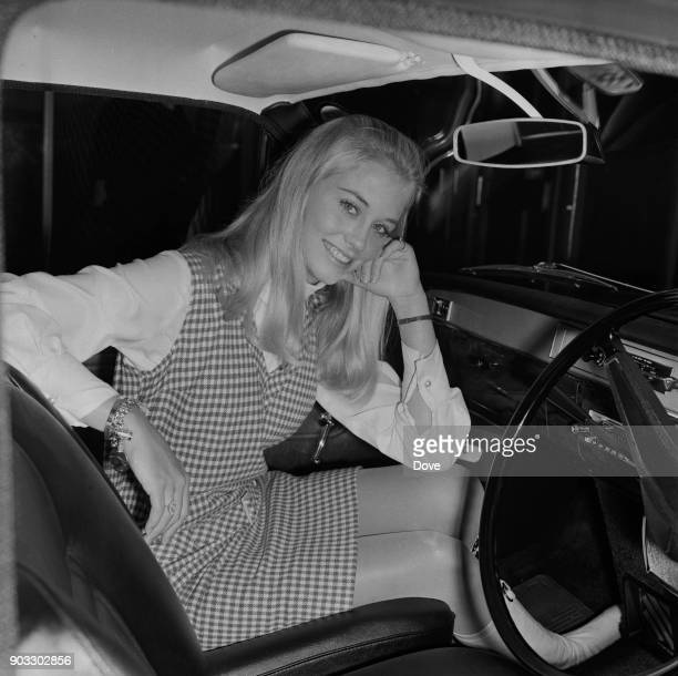 American actress and singer Cybill Shepherd in a car at Heathrow Airport London UK 7th October 1968