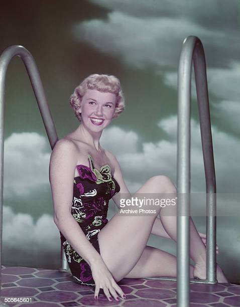American actress and singer Doris Day poses in a swimsuit circa 1955